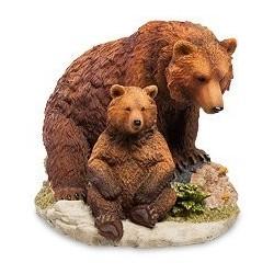 """Статуэтка """"Бурый медведь с детенышем"""""""
