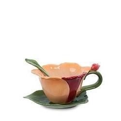 """Чайная пара с ложечкой """"Орхидея"""""""