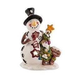 """Подсвечник""""Снеговик с елкой"""""""