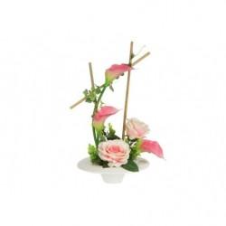 Декоративные цветы Розы и каллы розовыена керамической подставке