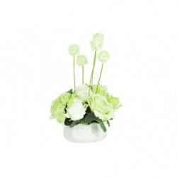 Декоративные цветы Розы белые с зеленым в керамической вазе