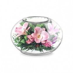 Розовато-белые и фиолетовые орхидеи с айвори розами в вазе большой круглый подсвечник