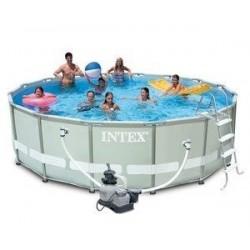 Каркасный бассейн Ultra Frame, 488х122см, 19156л, фильтр-насос 5678л/ч, лестница, тент, подстилка (28322)