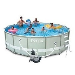 Каркасный бассейн Ultra Frame, 488х122см, 19156л, песочн.фил-насос 4500л/ч, лестн., тент, подстилка (28324)