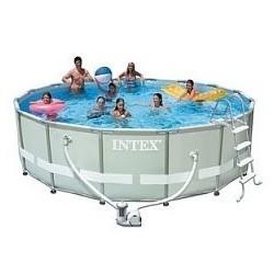 Каркасный бассейн Ultra Frame, 427х107см, 12706л, фильтр-насос 3785л/ч, лестница, тент, подстилка (28310)