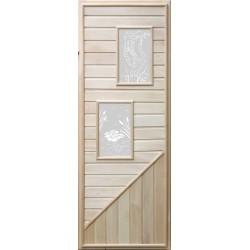 Дверь деревянная со стеклянной вставкой Два прямоугольных стекла