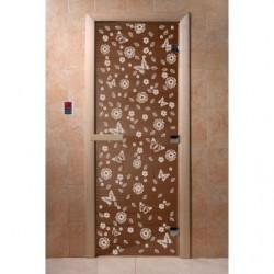 Дверь для саун Цветы и бабочки бронза 700 х 1900