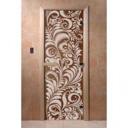 Дверь для саун Хохлома черный жемчуг 700 х 1900