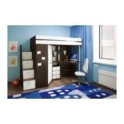 Детская кровать-чердак со столом и лестницей-комодом 80*190