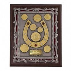 """Плакетка """"Подкова с монетами"""" в золоте арт. ПЛШ-125VIP-ОЗ"""