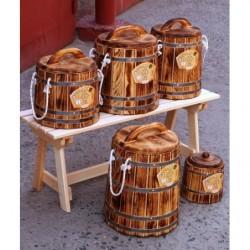 Кадка кедр обожженная 10 литров с крышкой и гнетом
