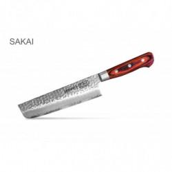 """SJS-0074 Кухонный нож """"Samura Sakai"""" накири (Nakiri Knife) с деревянной рукоятью 160 мм 60 HRC"""