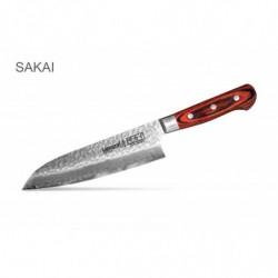 "SJS-0095 Кухонный нож ""Samura Sakai"" сантоку (Santoku Knife) с деревянной рукоятью 180 мм 60 HRC"