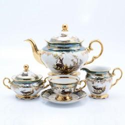 Чайный сервиз Корона Охота зеленая 15пр