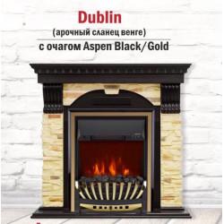 Каминокомплект Dublin арочный сланец + эл.очаг Aspen