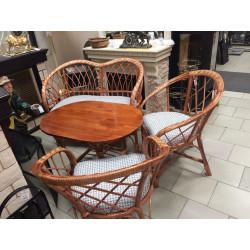 Комплект плетеной мебели (ива) стол, диван, 2 кресла