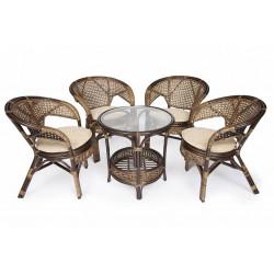 """Комплект """"PELANGI"""" (стол + 4 кресла) грец.орех"""