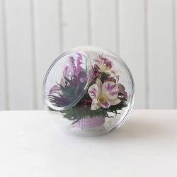 Орхидеи в круглой вазе