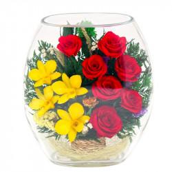 Композиция из натур. роз и орхидей